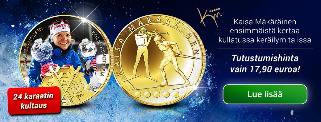 Kaisa Mäkäräinen -keräilymitali 24 karaatin kultauksella
