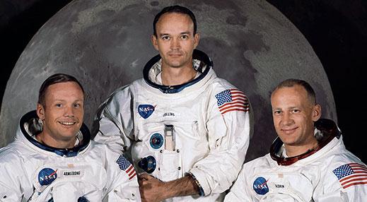 "Apollo 11 astronautit Neil Armstrong, Michael Collins ja Edwin ""Buzz"" Aldrin"
