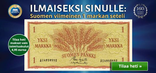 Varmista itsellesi historiallinen ja aito 1 markan seteli ilmaiseksi (maksat vain toimituskulut 4,95 euroa).