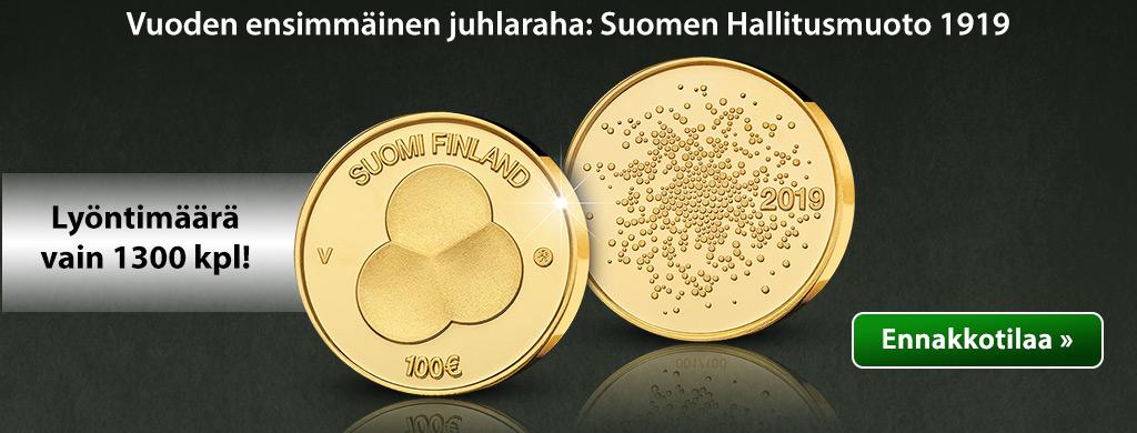 Suomen Hallitusmuoto 1919 -kultaraha 2019