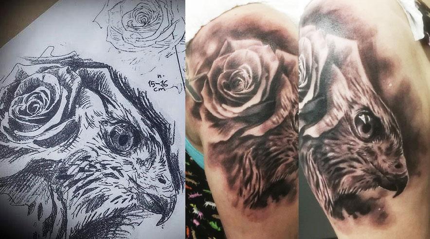 Tuomas Koivurinteen haukka-aiheinen tatuointi