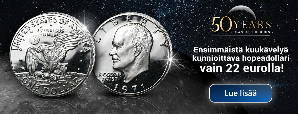 Ensimmäistä kuukävelyä kunnioittava hopeadollari nyt tutustumishintaan  - vain 22 euroa!