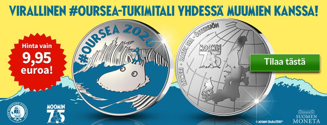 Uudella Muumipeikkoa kuvaavalla #OURSEA-mitalilla tuetaan Moomin Charactersin ja John Nurmisen Säätiön yhteistä Itämeren pelastamiskampanjaa