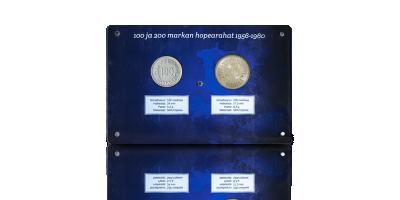 100 mk ja 200 mk hopearahat 1956-1958