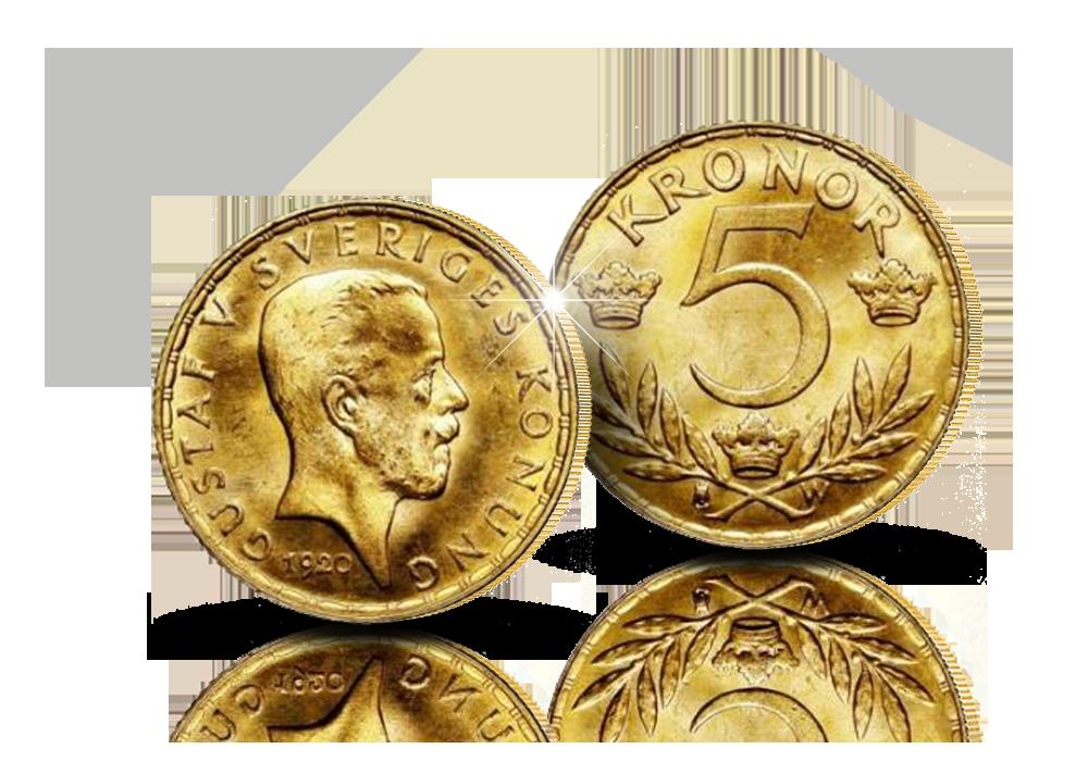 Ruotsin 5 kruunun kultaraha vuodelta 1920