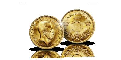 Ruotsin 5 kruunua 1920 Kustaa V