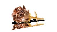 Ruusukultauksella viimeistelty aito ruusu edestä