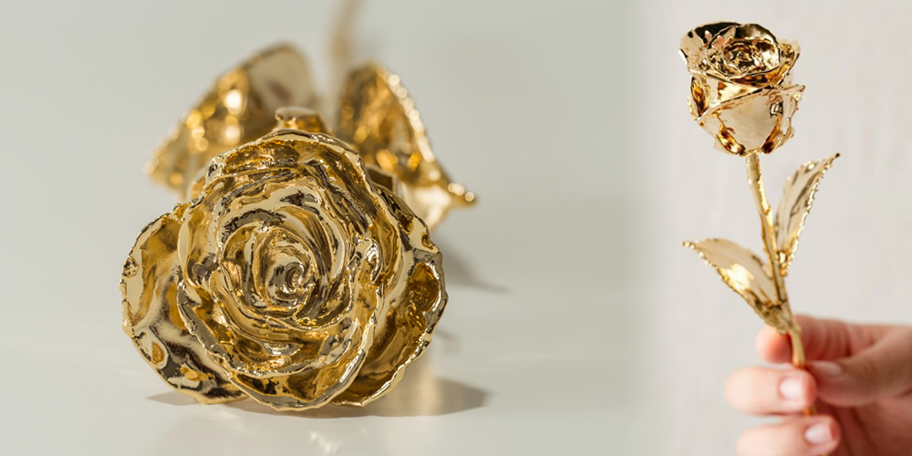 Kultauksella viimeistelty ruusu on perinteistä juhlaruusua näyttävämpi lahja