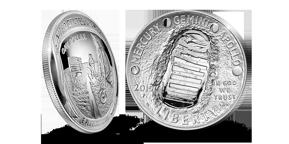 Rahan arvopuolella on mukaelma Kuussa otetusta valokuvasta, jossa Buzz Aldrinin kypärästä heijastuvat Armstrong, kuumoduuli ja Yhdysvaltojen lippu