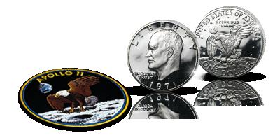 Eisenhower- juhlaraha ja Apollo 11 -hihamerkki