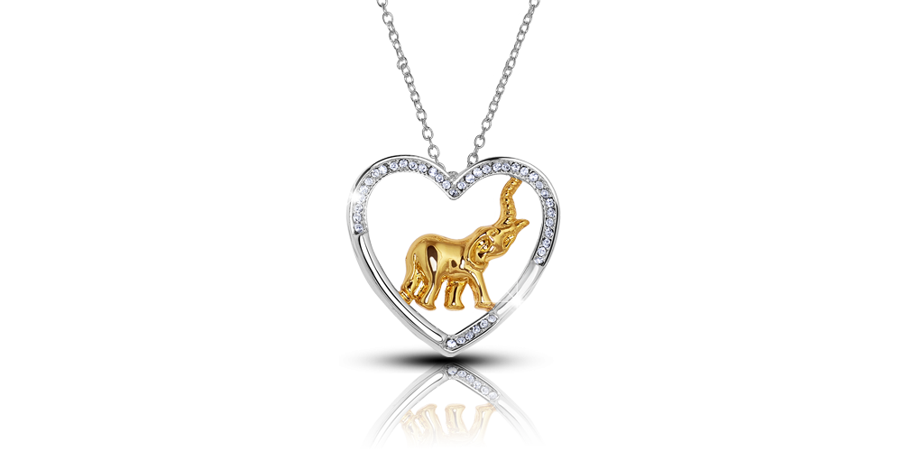 Elefanttiaiheinen sydänriipus Swarovski-kristalleilla