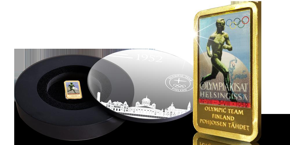 Helsingin olympialaisten kisajuliste väriviimeisteltynä kultaharkkoon