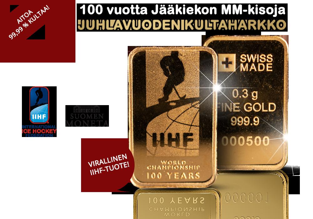Jääkiekon MM-kisojen 100-vuotista historiaa kunnioittava kultaharkko