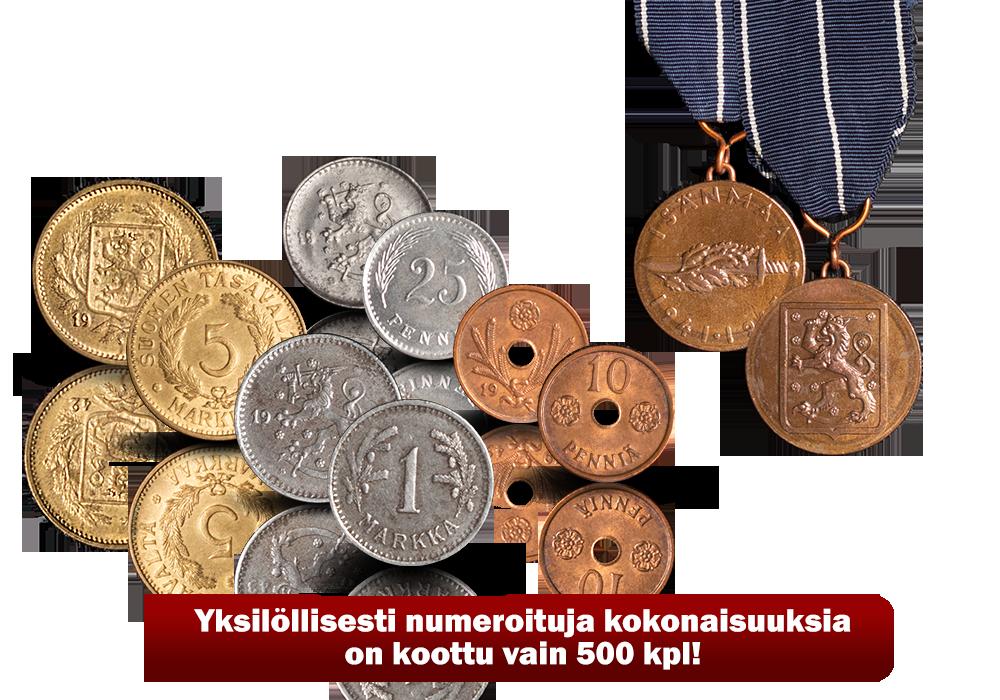 Jatkosodan käyttörahat kokonaisuuksia on koottu vain 500 kpl!