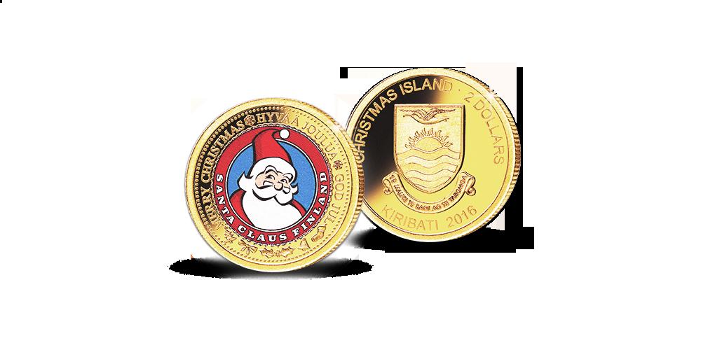 Joulupukkisäätiön kanssa toteutettu joulupukki -kultaraha väriviimeistelyllä