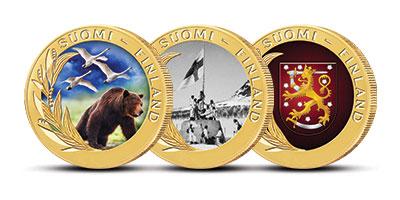 Suomalaisuuden symboleita näyttävissä mitaleissa, joista jokainen on viimeistelty laadukkaalla väripainatuksella ja aidolla 24 karaatin kultauksella
