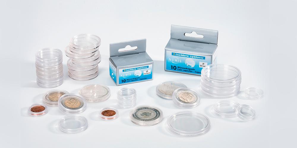 Kapselipakkaus sisältää 100 muovista kapselia maks. 28 mm kokoisille rahoille