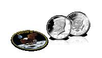 John F. Kennedy -hopeadollari ja Apollo 11 -kangasmerkki