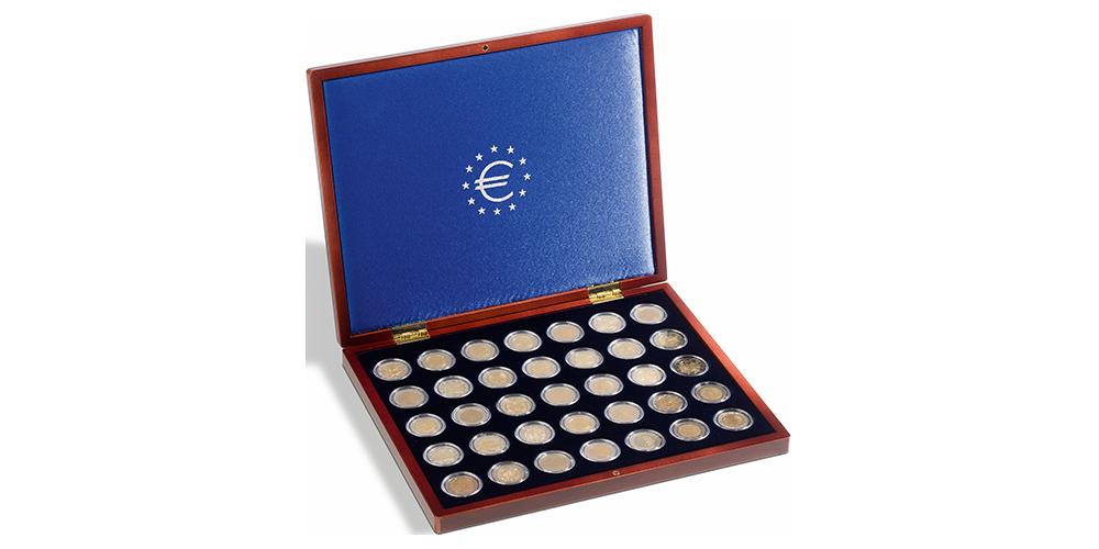 Korkealaatuinen mahonginvärinen keräilykotelo 2 euron kolikoille
