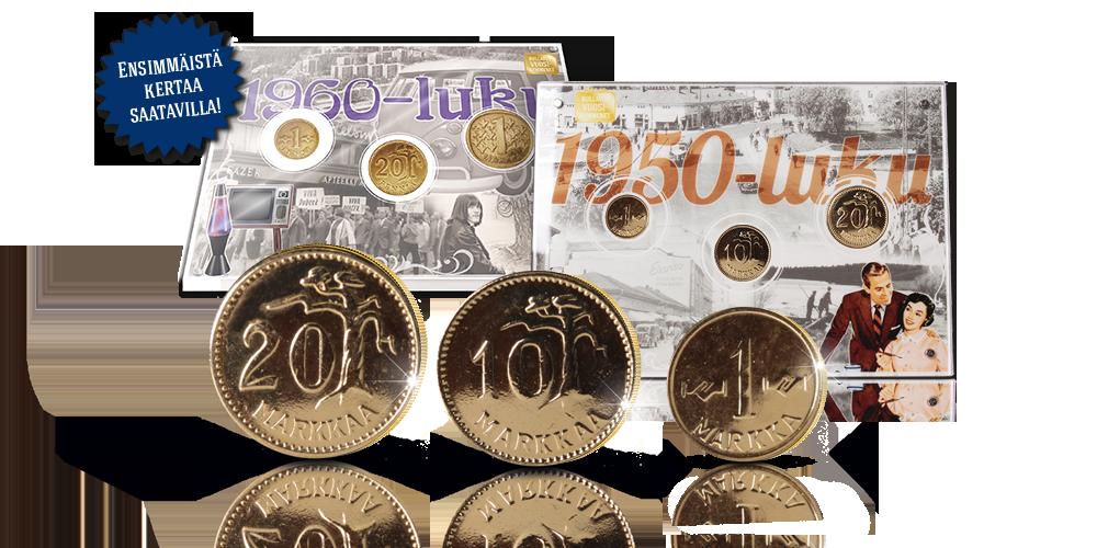 Kullatut vuosikymmenet -kokoelma sisältää käyttörahoja neljältä vuosikymmeneltä.