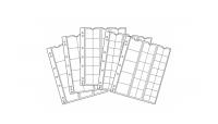 Lajitelma läpinäkyviä Optima -kansiosivuja