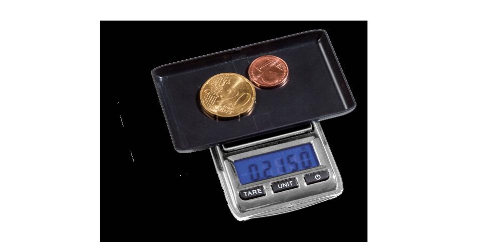 Digitaalinen LIBRA mini -kolikkovaaka sisältää kätevän punnitusalustan