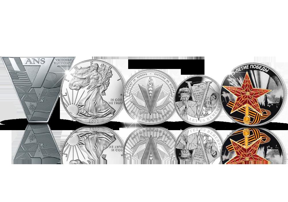 Upea muistokokonaisuus toisesta maailmansodasta: liittoutuneiden hopearahat