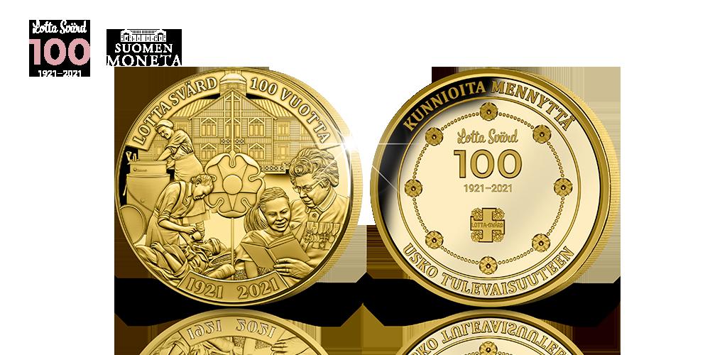 Lotta Svärd 100 vuotta, kullattu muistomitali