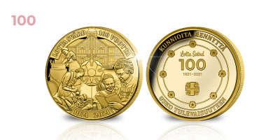 Lotta Svärd 100 vuotta -muistomitali kultauksella