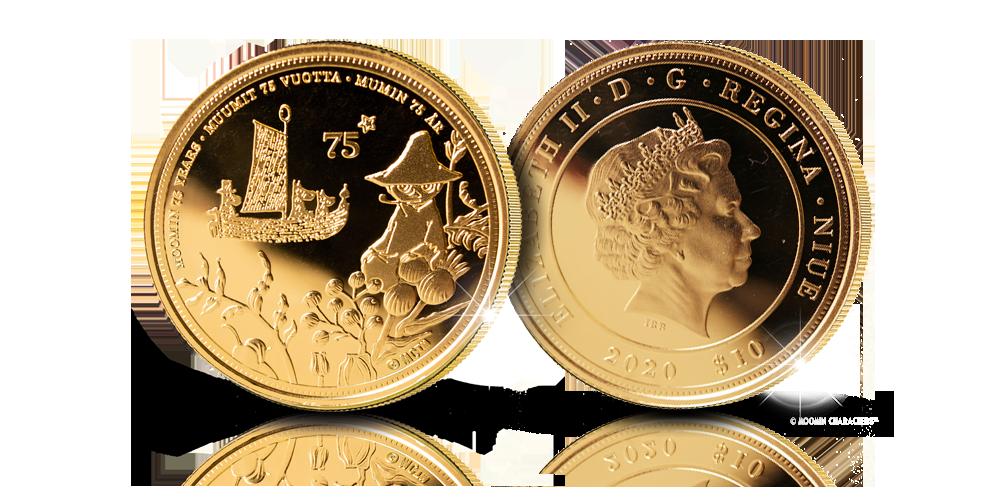 Virallinen Muumi-kultaraha Tove Janssonin alkuperäiskuvituksella