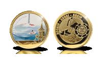 Kullattu Muumipappa ja meri-mitali