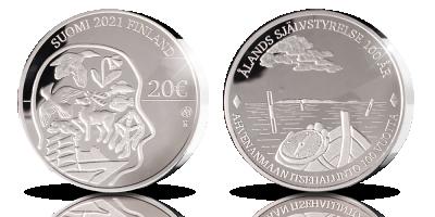 Numeroitu Ahvenanmaan itsehallinto 100 vuotta 20 € proof -juhlaraha 2021