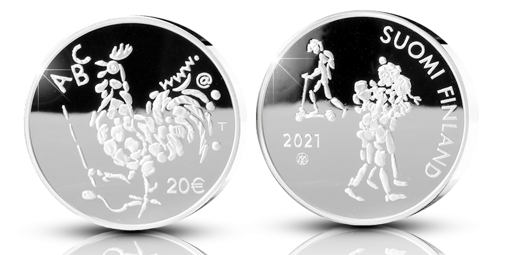 Numerointi tulee rahan tunnuspuolelle vuosiluvun 2021 alle