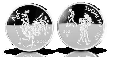 Oppivelvollisuuslaki 100 vuotta 20 € proof -juhlaraha 2021