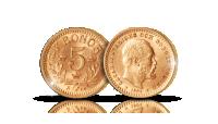 Ruotsin kuningas Oscar II kultainen 5 kruunua