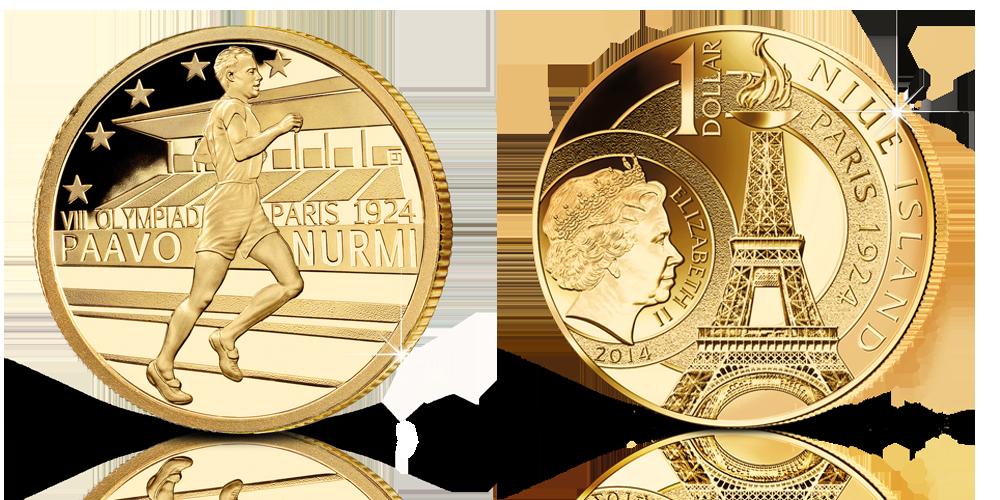 Paavo Nurmi -juhlarahassa aito 24 karaatin kultaus