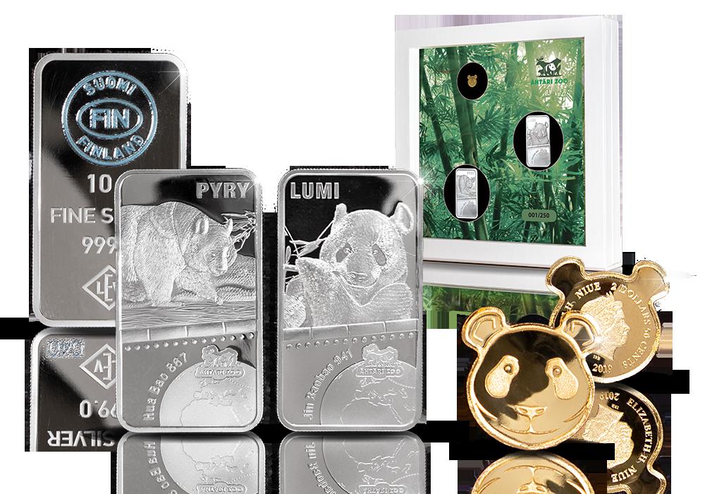 Lumi & Pyry hopeaharkot ja 99,9 % panda-kultaraha