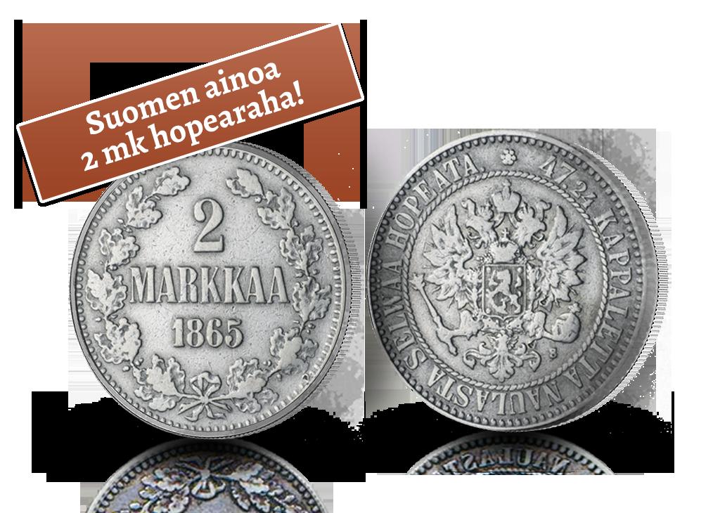Ainoa 2 mk nimellisarvolla lyöty raha Suomessa, hieno aloittaja Pohjolan Rahahistoria-kokoelmalle!