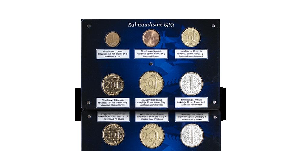 Rahauudistus 1963 rahat sinisessä keräilylevyssä