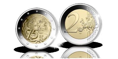 Ranskan UNICEF 75 vuotta 2 euron erikoisraha, proof