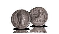 Hopearahassa Sabina ja jumalhahmoja, kuva-aiheet vaihtelevat rahoissa