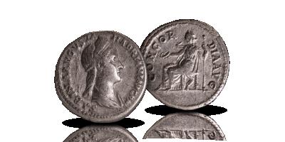 Keisarinna Sabinaa kuvaava hopeadenaari