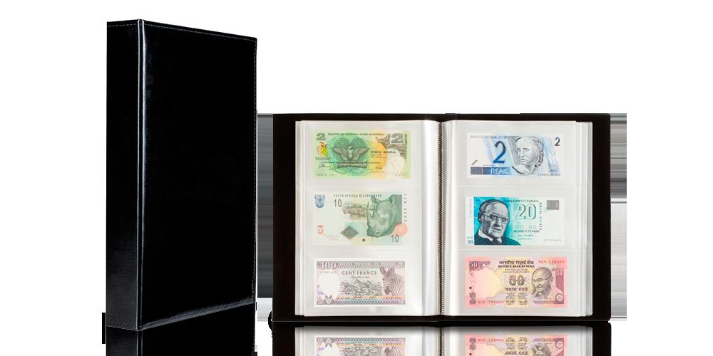Kätevä musta nahkajäljitelmä setelikansio 300 setelille