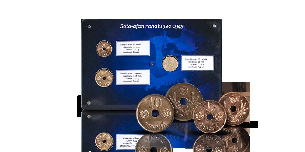 Sota-ajan reikärahat sinisessä keräilylevyssä