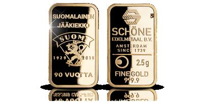 Suomalainen jääkiekko 90 vuotta - 2,5g kultaharkko