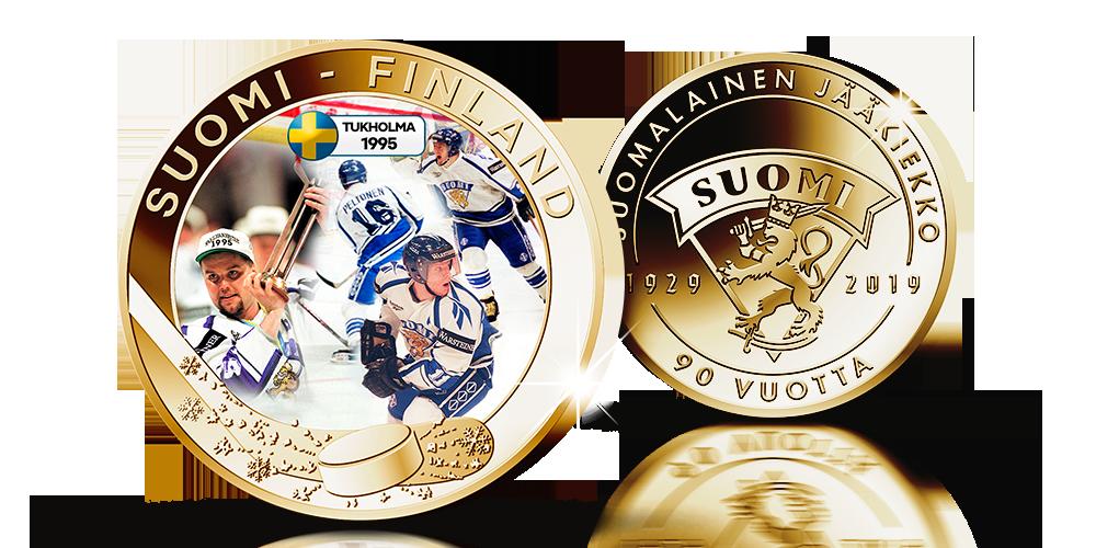 Suomalainen jääkiekko 90 vuotta -kokoelman MM95-keräilymitali