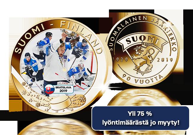 Kullattu MM 2019 -keräilymitali