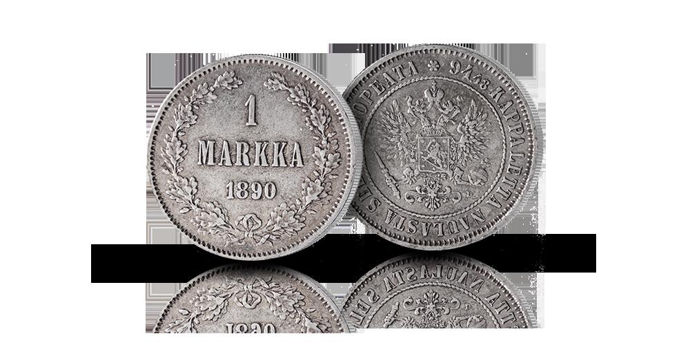 Suomen ensimmäinen hopeamarkka vuosilta 1865–1915