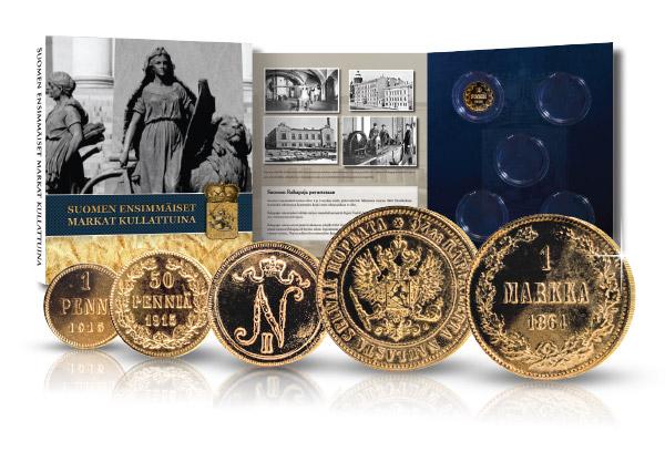 Suomen ensimmäiset markat kullattuina -kokoelman rahoja