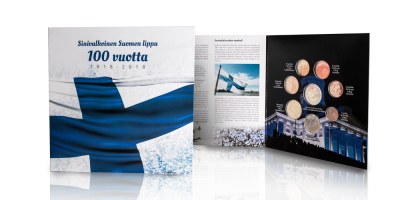 Sinivalkoinen Suomen lippu 100 vuotta -rahasarja